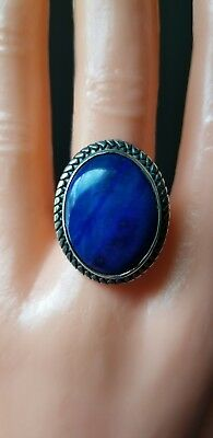 sterling silver  large beautiful blue lapis ring sz 8