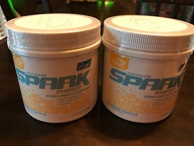 NEW Advocare Pineapple Coconut Spark 2 Canisters 10.5 oz FREE SAME DAY SHIPPING