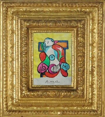 PABLO PICASSO DRAWING ON PAPER SIGNED  watercolor - NO PRINT - VINTAGE -/--