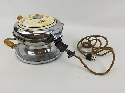 Vintage Samson Waffle Maker With Floral Top, Wood Handle & Power Cord Works