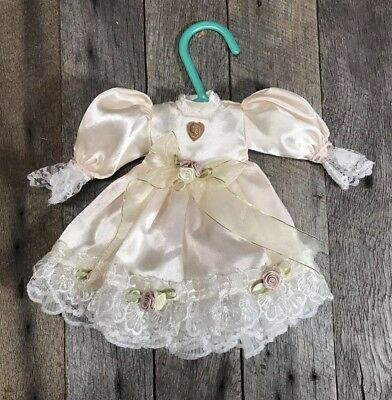 Antique/ Vintage Light Pink Victorian Doll Dress With Lace Trim, 9 Inches