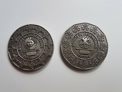 Geocaching 2 Coins Serie Colors Of Geocaching, Geocoin