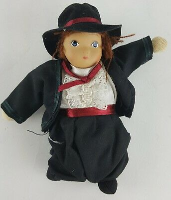 "Amish Boy Doll 6"" Tall Traditional Attire Red Sash And Bow With Hat"