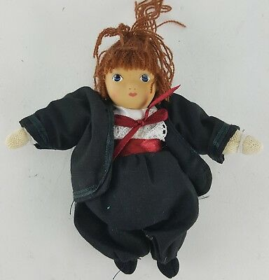 "Amish Girl Doll 6"" Tall Traditional Attire Red Sash And Bow"