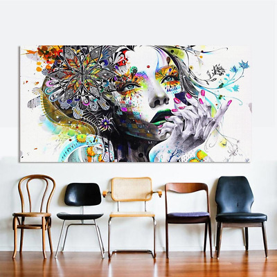Modern Wall Art, Girl with Flowers Oil Painting Prints on Canvas