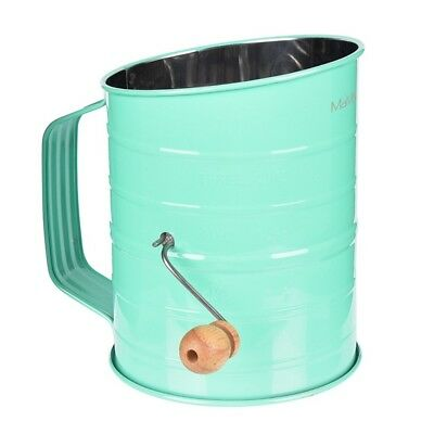 Stainless Steel Baking Hand Crank Flour Sifter 2 Wire Agitator 3 Cup Green
