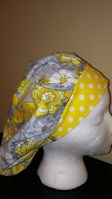 Yellow Flowers Yellow Women's Bouffant Surgical Scrub Hat/Cap Handmade