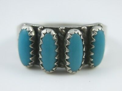Vintage Row Of Blue Turquoise Sterling Silver Ring 7 1/4