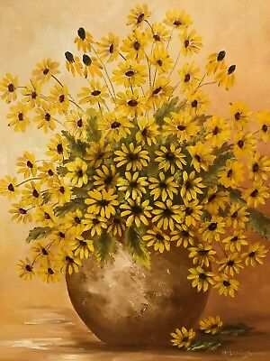 Original Signed Oil Painting On Canvas Of Yellow Flowers & Vase In Wood Frame