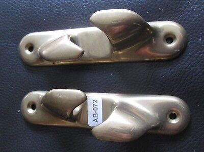 A Pair Of  Brass  Horn Bollard Cleats For Boat Or Nautical