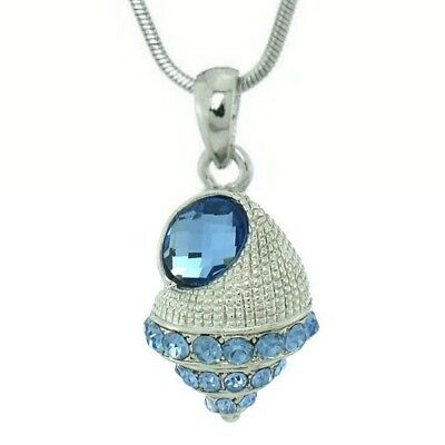 """Sea Shell Necklace Made With Swarovski Crystal Ocean Blue 18"""" Chain Pendant"""