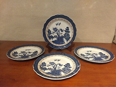 """REAL OLD WILLOW Booths England PAGODA Gold Decor 7 3/4"""" SALAD PLATES Set 4 A8025"""