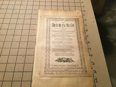 Orig BROADSIDE 1893 SHE IS MY PICNIC GIRL soldier's farewell