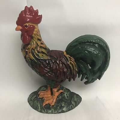 Cast Iron Rooster Door Stop Folk Art Primitive Farmhouse Decor NWOT