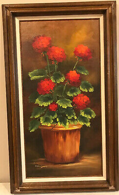 Original Signed Oil Painting On Canvas Of Red Flowers In Planter Wood Frame