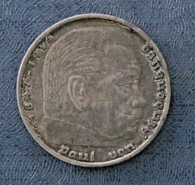 1935-5 REICHSMARK GERMAN FUHRER SKULL DEATH HEAD WWII HOBO COLLECTIBLE COIN
