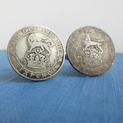 500 Silver Great Britain Coin Cuff Links  Vintage 1921 Six Pence UK Lion & Crown