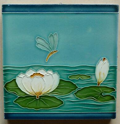 Jugendstil Fliese art nouveau tile Tegel OSTERATH Seerose top rar sensationell