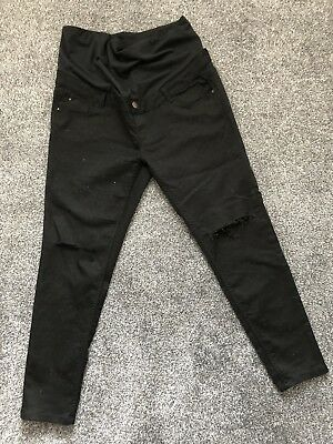 New Look Black Maternity Jeans Over Bump Size 16. 30 Leg. Ripped Knee Detail.