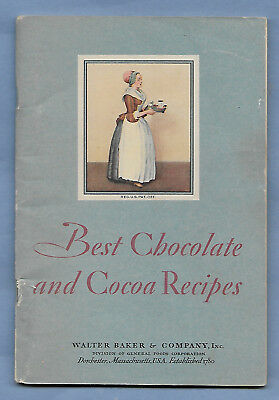 VINTAGE 1931 WALTER BAKER & CO BEST CHOCOLATE and COCOA RECIPES some color 60 pg