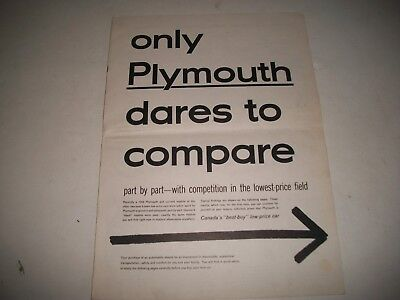 "1954 Plymouth  Salesmans Brochure Cdn. ""dares To Compare To Ford & Chevrolet"""