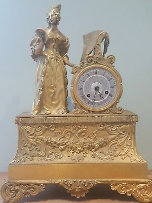 Regency Bronze & Ormolu French clock antique mantel