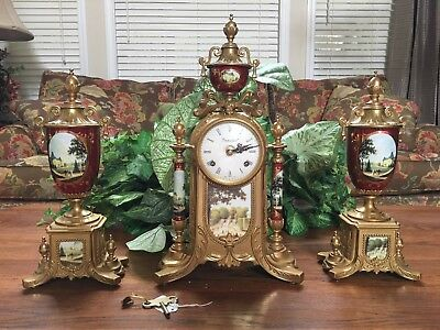 Imperial Clock Franz Hermle Movement and Two Garniture Urns Made In Italy