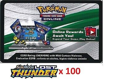 100 x Pokemon SM Lost Thunder Code TCGO Cards TCG Codes