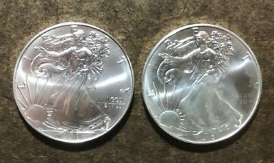 Two American Silver Eagle Coins; 2016 & 2018; 2 Troy oz Bullion Lot - No Reserve