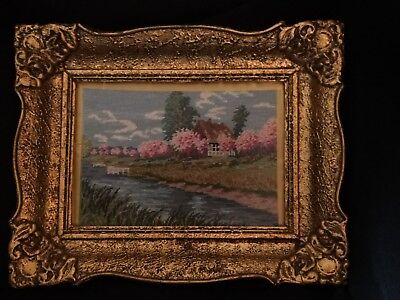 """Antique Small Ornate Gold Gesso Wood Framed Art Tapestry Needlepoint 8"""" by 10"""""""