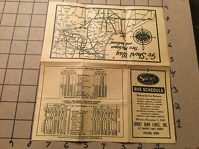 Original Vintage paper -- BUS SCHEDULUE - TOLEDO OHIO - w map - early