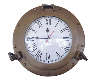 "Ship's Cabin Porthole Clock Antique Brass Finish 12"" Aluminum Hanging Wall Decor"