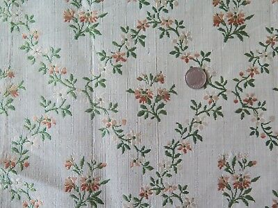 "French Antqiue 18thC 1770 Green & Peach Silk Brocade Fabric~L-40""X W-18"