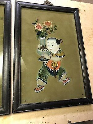 Pair Of Antique Asian Japanese Chinese Reverse Painting on Glass Framed