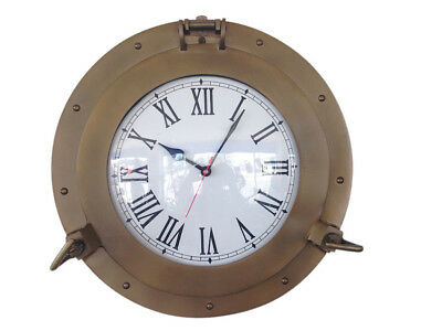 "Ship's Cabin Porthole Clock Antique Brass Finish 15"" Aluminum Hanging Wall Decor"
