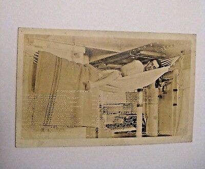 Vintage Wwii U.s. Military Solider In Hammock On Ship Real Photo Postcard