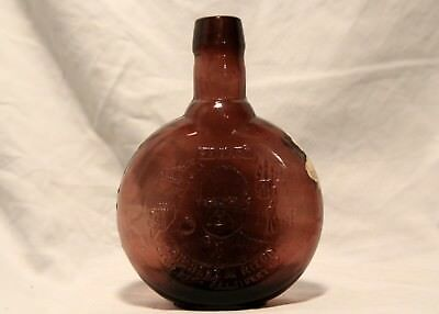 Vintage Clevenger Brothers Amethyst Glass Embossed Labeled Bottle Nixon 37th