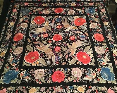 Finest Antique Vintage Chinese Canton Embroidered Silk Piano Shawl Embroidery #4
