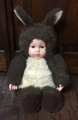 "1998 ANNE GEDDES Baby in Squirrel Costume 16.5"" Collectible Plush EUC"
