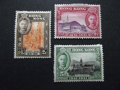 Hong Kong - George VI 1941 Centenary Stamps Mounted Mint