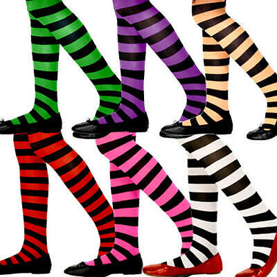 Striped Colour Girls Tights Fancy Dress Fairytale Halloween Kids Costume Tights