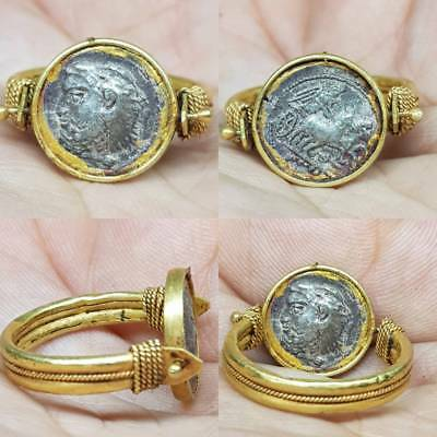 Beautiful 22k karat Gold Ring Ancient Roman Silver Coin     # 5E