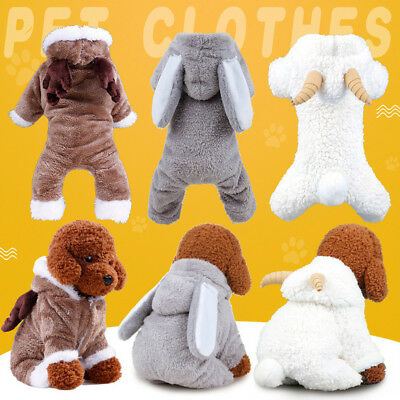 Cute Pet Dog Puppy Winter Warm Cartoon Hoodie Costume Clothes Jumpsuit Clothing