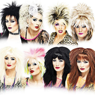 Ladies Rock Chick Emo Punk Fancy Dress Wig Party 80s 80s Accessory New