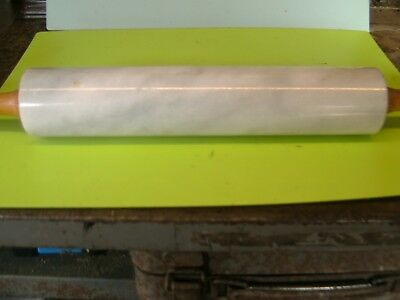 DOUGH ROLLING PIN--MARBLE STONE--WOODEN HANDLES----STONE IS 26cm LONG approx