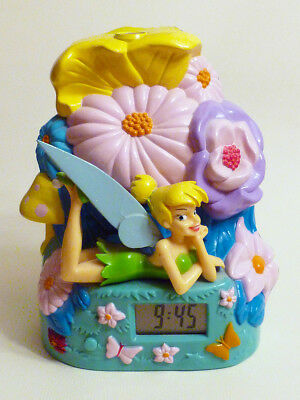Disney Tinker Bell Fairy LED Projection Digital Battery Operated Alarm Clock