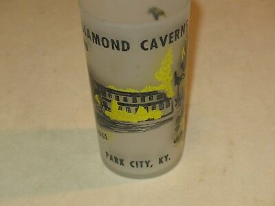vintage KENTUCKY DIAMOND CAVERNS FROSTED GLASS~COLONIAL LODGE,PARK CITY-KY