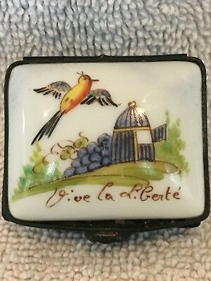Antique French Porcelain Hand Painted Trinket Snuff Patch Box - Signed