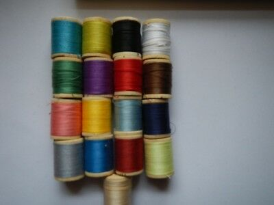Vintage Thread 17 Wooden Spools 9 New 8 used Sewing Thread Different Colors NICE