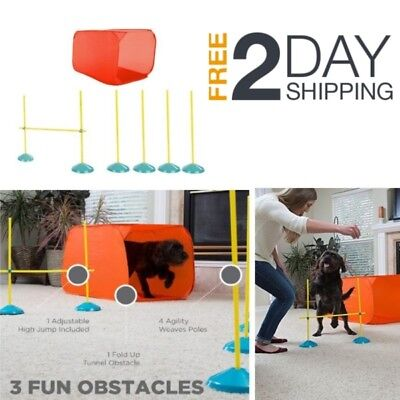 Dog Agility Starter Kit Obstacle Course Training Equipment Poles Tunnel Weave In